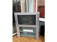 CRT Sony Television with surround sound.