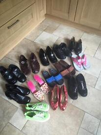 13 Pairs Of Shoes - (2 Pairs Of Ladies Are New From M&S) - See All Close Up Photos