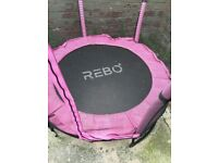 Rebo Safe Jump 4.5FT Trampoline with Safety Enclosure - Pink