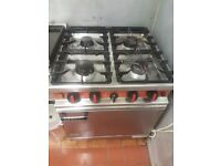 Commercial gas range, oven and hob