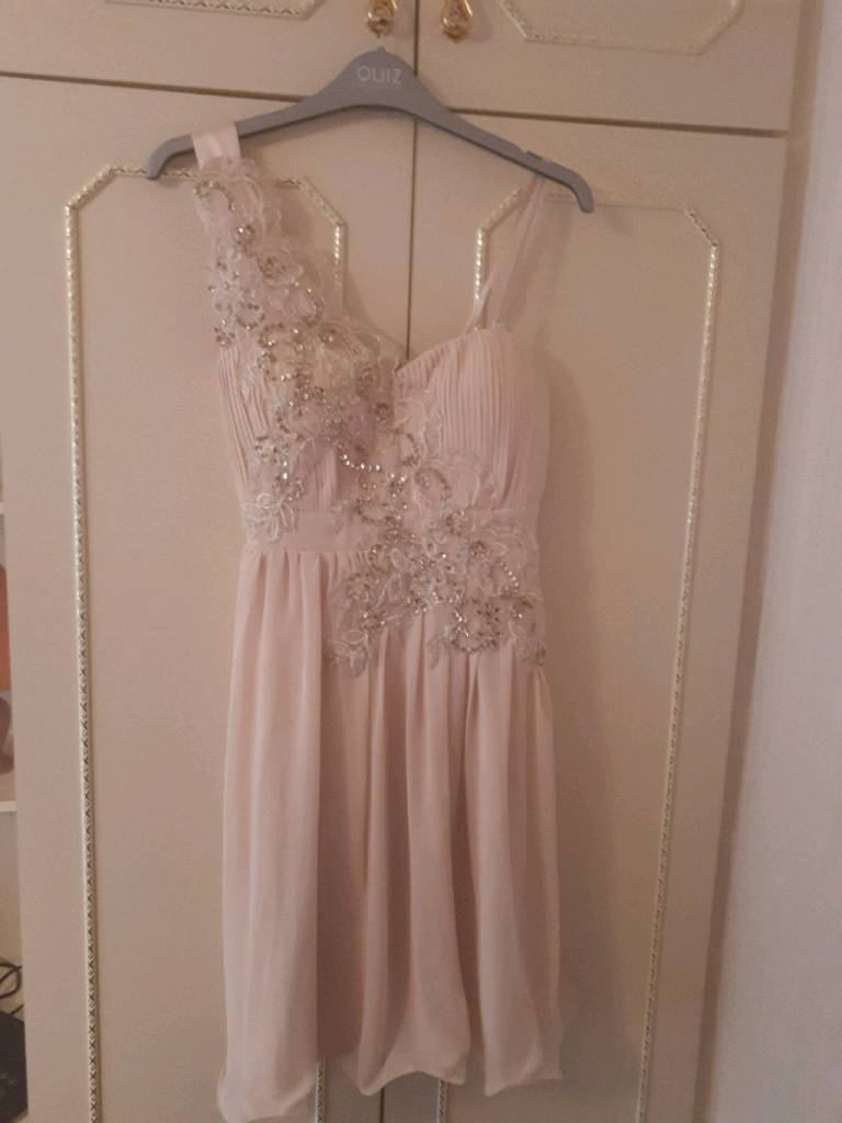 Mid length Nude/Gold sequin party dress