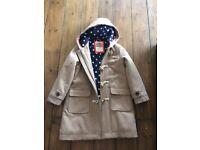 Girl's Mini Boden Duffle coat. Age 7-8 years.