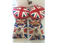 Union Jack two bean bags and 4 cushions
