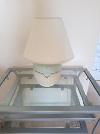 Table Lamps - 1 pale green, 1 peach - £5 each