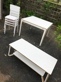 White modern retro matching dining table and coffee table