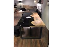 CALIFORNIA - A striking and unique glass and solid wood dining table. Delivery available