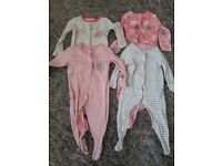 3-6 months girls long sleeved baby grows.