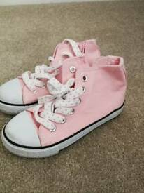 Pink hi top canvas trainers. Child uk 10