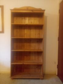 Large solid pine book case with adjustable shelving, suits living room/office