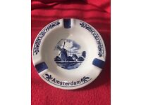 Amsterdam hand painted Delft ashtray