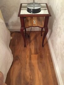 mahogany and mirror bedside table