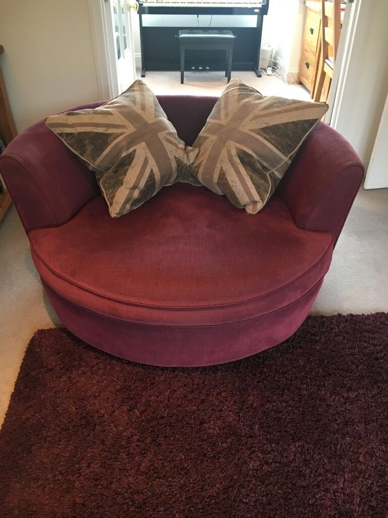 Purple Swivel Round Sofa Chair Cuddler Cosy Great