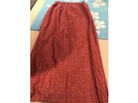 Pair or large lined Red/Gold curtains & pole