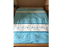King size duvet cover blue and white with embroidered blue design