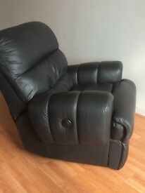 Reclining chair, BLACK electric, part-leather