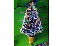 2ft Christmas Xmas Fibre Optic Led Tree Decoration Green Golden Ornaments Lights 60cm Star Flashing
