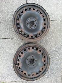 """2 x Genuine Ford Mondeo or Focus Steel 16"""" wheels good for winter or spare tyres"""