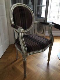 2 Bespoke made Upholstered Chairs. Sliver leaf frame. Excellent condition.