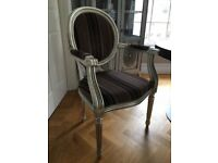 2 Bespoke made Upholstered Chairs. Sliver leaf frame. Excellent condition.
