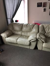 3 and 2 seater leather settees