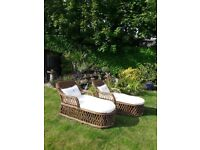 2 x CHAISE GARDEN LOUNGERS WITH CREAM PADDED SEATS (new)