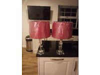 2 glass table lamps with shades brand new still in cellophane