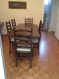 Oak dining table, 6 chairs and dresser - dark oak, good quality