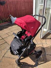 Joie Chrome 3in1 pram system AS NEW red and black