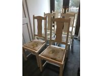 6 White French style wooden kitchen chairs