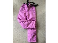 Girls ski trousers pink Age 10-12 years