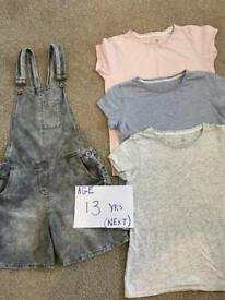 Next girls outfit, Dungarees & 3 x t-shirts age 13 years