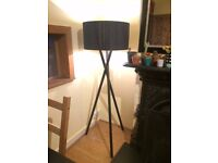 Habitat 'Lansbury' dark stained wooden tripod floor lamp with shade