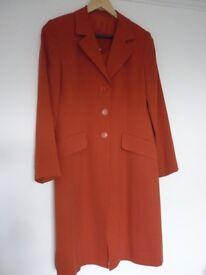 HOBBS Shift Dress & Jacket (kneelength) - Size 10 Orange 100% silk