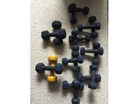 Assorted collection of dumbells 1kg and 2kg