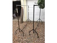 Clothing hanging rails (2) heavy duty steel one black one brown easy push fit assembly 4 sections