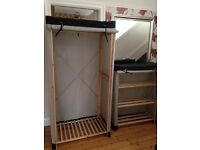 Polycotton and wood wardrobe and shelving unit