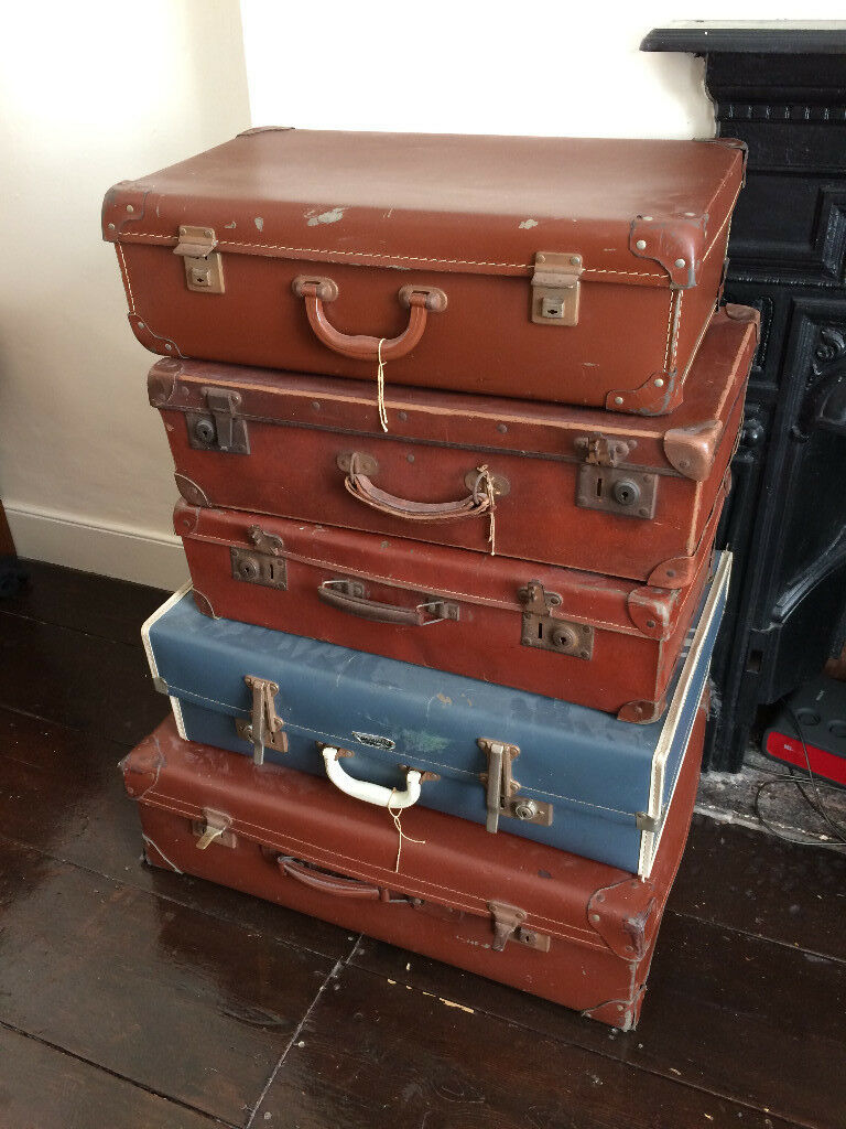 Vintage Retro Trunks Suitcases x5 from the 1940 s 1950 s Wedding Props £10  each! f092dc9e7