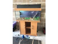 180l Juwel fish tank 3.5 ft long full set up with stand light heater filter gravel nice ornament mor