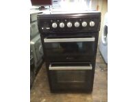 HOTPOINT Gloss black electric cooker double oven £175 can deliver and install