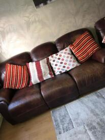 3 and 2 seater leather recliner sofas