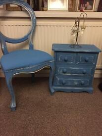 Shabby chic chair & mini chest of drawers