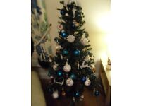 Job lot 5 artificial christmas trees, decorations and lights