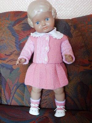Schildkröt Puppe Doll  BÄRBEL 46 cm ganz süßes rosa Strickkostüm