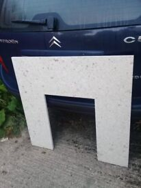 Fire surround and hearth, white marble. As new.