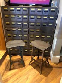 Industrial factory stools engineering metal chairs mancave