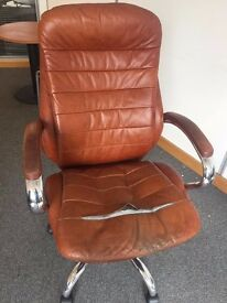 Free brown leather office chair - worn, but comfy