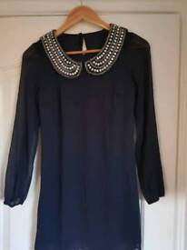 Navy Party dress with embellishment