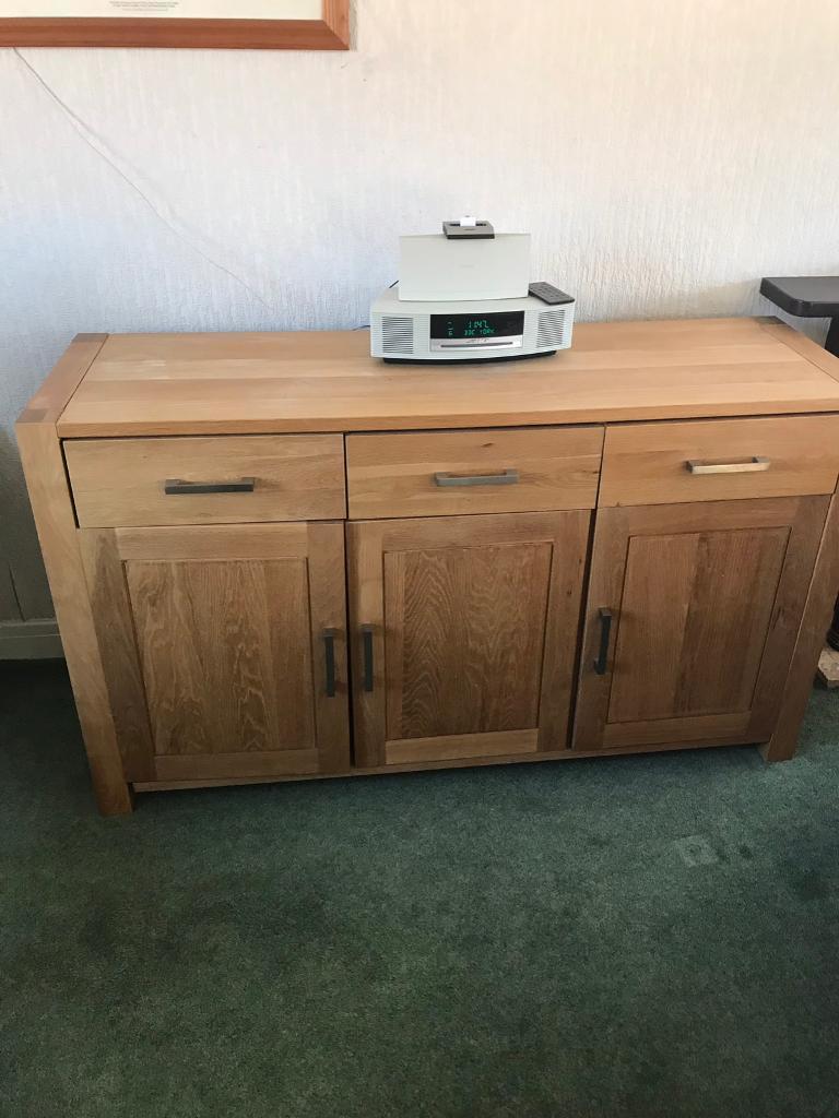 Solid Oak Jysk 3 Drawer Cupboard Dresser