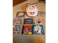 Hello kitty cd and radio player with selection of cds