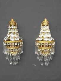 very pretty pair of unusual vintage French brass empire wall lights (98)